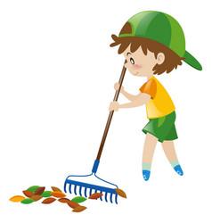 Boy raking dried leaves vector