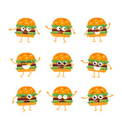 Burger - set of mascot vector