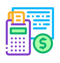 calculator coin icon outline vector image