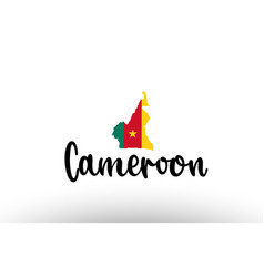 Cameroon country big text with flag inside map vector