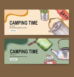 Camping banner design with kettle food flask pot vector