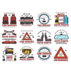 Car service auto parts shop and mechanic garage vector