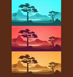 cartoon african savannah card poster set vector image