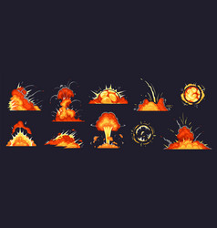 Cartoon bomb explosion dynamite explosions vector