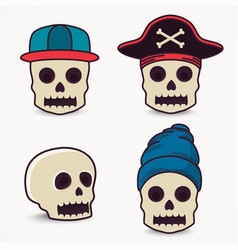Cartoon skull collection in cap pirate vector