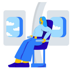 Character girl afraid to fly in an airplane vector