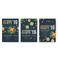 Christmas 2019 party invitation posters vector