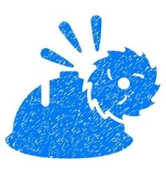 Circular blade head protection grainy texture icon vector