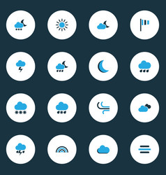 Climate colorful icons set with rainfall breeze vector