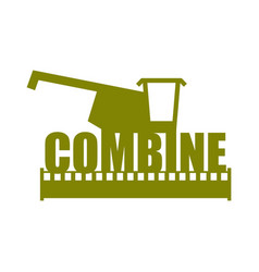 Combine harvester logo sign farm machine for vector