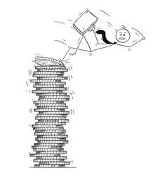 Conceptual cartoon bankruptcy businessman falling vector