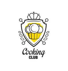 cooking club logo design heraldic shield with vector image