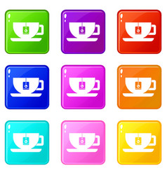 cup of tea with tea bag set 9 vector image
