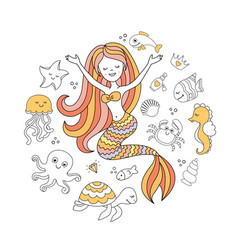 Cute little mermaid and sea animals under the sea vector