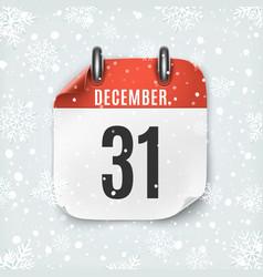 december 31 calendar icon on winter background vector image