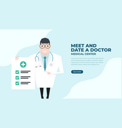 doctor holding a check up paper vector image