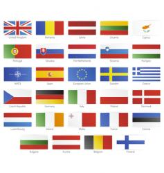 European union modern style flags vector
