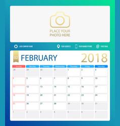 february 2018 calendar or vector image