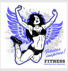 fit young woman in sportswear - flying girl vector image