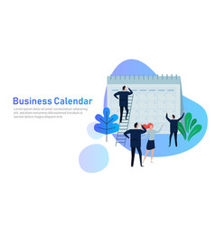 Flat business people planning and scheduling vector