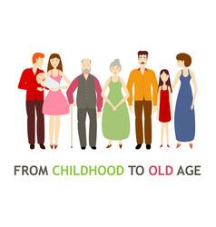 flat cartoon full big family characters vector image