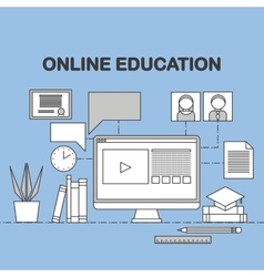 Flat linear of e-learning vector image