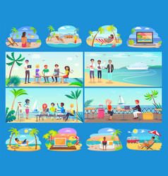 freelancers work all around world in comfort set vector image