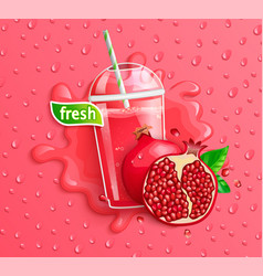 Fresh pomegranate juice to go splash banner vector