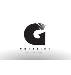 G brushed letter logo black brush letters design vector