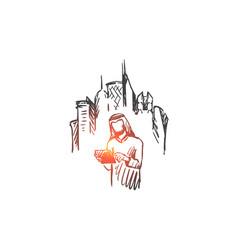 gadgets big city megapolis businessman muslim vector image