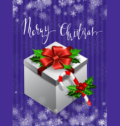 Gift box with bow christmas card vector