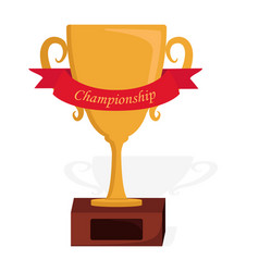 Golden trophy with red ribbon icon vector