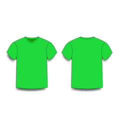 green male t-shirt template v-neck front and back vector image