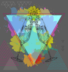 hand drawing champagne clinking glasses vector image