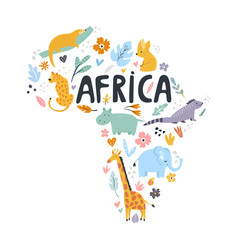 Hand drawn map of africa with charactes vector