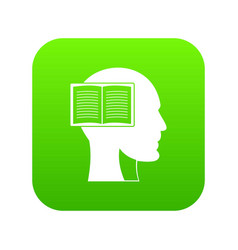 head with open book icon digital green vector image