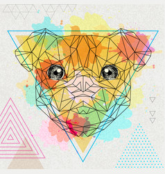 Hipster polygonal animal pug-dog on artistic vector