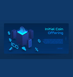 isometric ico concept banner vector image