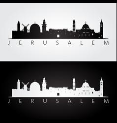 Jerusalem skyline and landmarks silhouette vector
