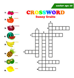 kids crossword with eight different flat fruits vector image