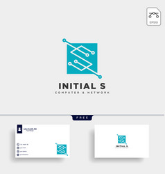 Letter s digital network creative logo template vector