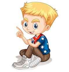 Little boy pointing his finger vector