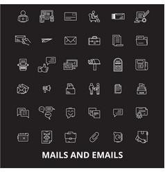 mails emails editable line icons set o vector image