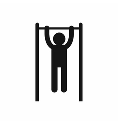 Man doing pull ups on the horizontal bar icon vector