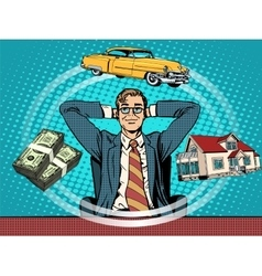 Man dream house money car vector