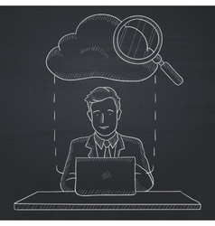 Man working on laptop vector image