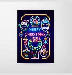merry christmas neon flyer vector image