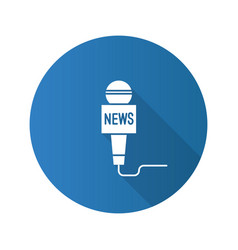 microphone broadcasting news flat design long vector image