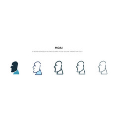 Moai icon in different style two colored and vector