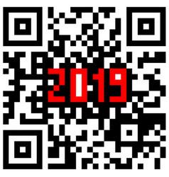 modern technologies 2019 written inside a qr code vector image
